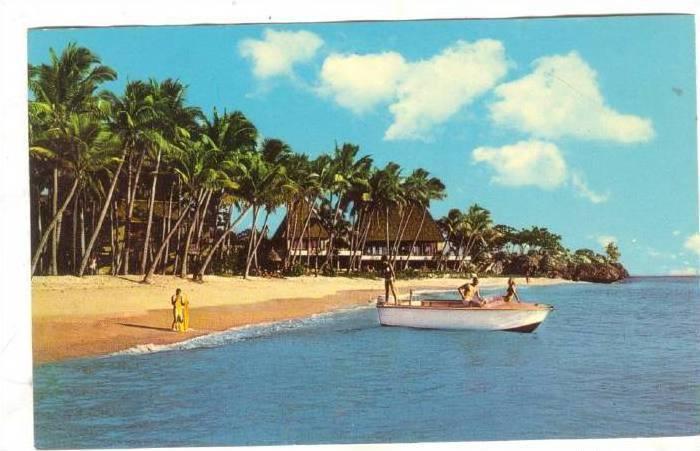 Boat on beach , Fiji , SUVA, 40-60s