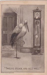 Birth Stork With Grandfather Clock Twelve O'Clock and All's Well