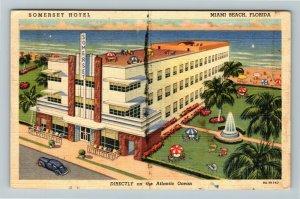 Miami FL-Florida, Advertising Somerset Hotel, Fountain, Beach, Linen Postcard