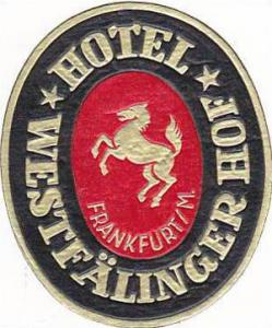 GERMANY FRANKFURT HOTEL WESTFAELINGER HOF VINTAGE LUGGAGE LABEL