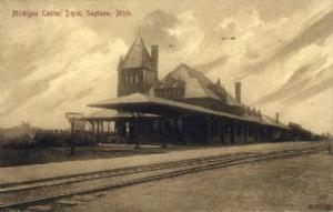 Michigan Central Depot, Saginaw, Michigan, MI, USA Railroad Train Depot Postc...
