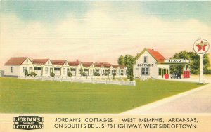 Jordan's Cottage Memphis Arkansas 1940s Texaco Gas Station Postcard 12861