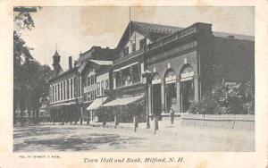 Milford New Hampshire Town Hall And Bank Street View Antique Postcard K61913
