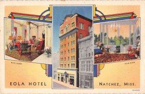 Natchez Mississippi Eola Hotel Linen Vintage Postcard AA16731