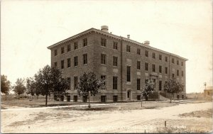 Mitchell South Dakota~Wesleyan University Science Hall on Dirt Street~1918 RPPC