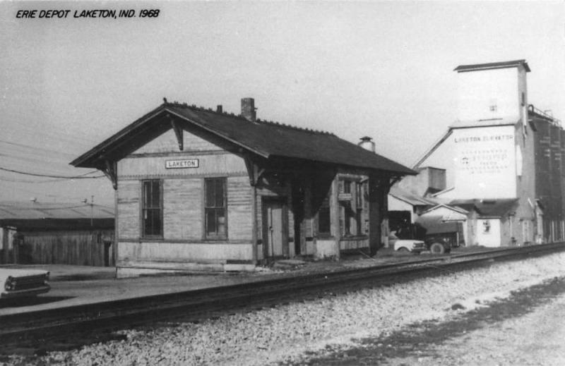 Laketon Indiana Erie Railroad Depot Real Photo Vintage Postcard K101427