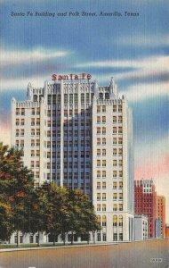 AMARILLO, TX Texas   SANTA FE BUILDING & POLK STREET  1946 Linen Postcard