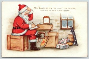 Christmas~Santa in Workshop Going Over the Books~Sled~Crates~Desk~Whitney Made