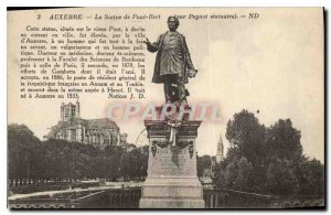 Old Postcard Statue of Auxerre Paul Bert Peynot statuary by this statue situa...
