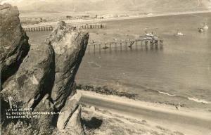 View Of Port, 2 Piers, Ensenada Mexico Real Photo Postcard
