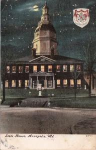 Maryland Annapolis The State House At Night 1910