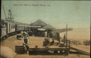 Newport Beach CA RR Train Depot & Wharf c1910 Postcard