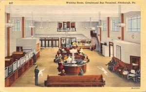 Pittsburgh Pennsylvania~Greyhound Bus Depot Waiting Room~Dog Rugs~1942 Linen PC