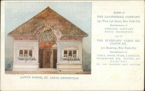 1904 St. Louis Expo Lotus Lodge Leatherole Co New York City Postcard