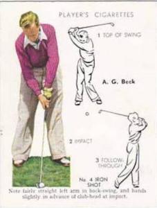 Player Vintage Cigarette Card Golf 1939 No 3 No 4 Iron Shot A G Beck
