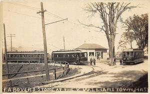 Williamstown MA Trolley Cars at Boyer's Store RPPC Postcard
