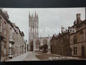 WARWICK St Mary's Church showing POST CARD SHOP - Old RP Postcard
