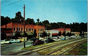 1950s SALUDA North Carolina Postcard MAIN STREET Downtown Scene / 1950s Cars