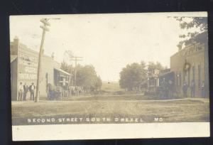 RPPC DREXEL MISSOURI DOWNTOWN SECOND STREET SCENE REAL PHOTO POSTCARD MO.