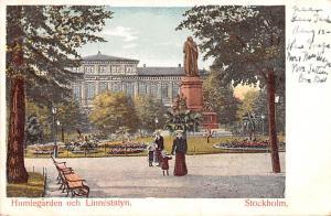 Sweden Old Vintage Antique Post Card Humlegarden och Linnestatyn Stockholm Un...