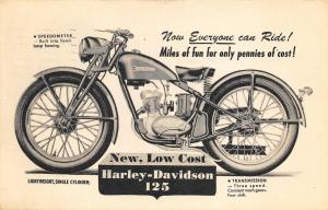 Haverhill MA 1948 Harley Davidson 125 Motorcycle Postcard