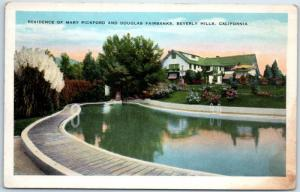 Beverly Hills CA Postcard Home of Mary Pickford & Douglas Fairbanks Pool 1920s
