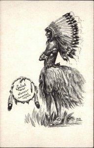 Native Indian Salish War Dancer Horsetail Regalia Bob Hall Postcard