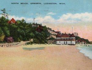North Beach @ Epworth Heights Resort Postcard Methodist Retreat Ludington MI