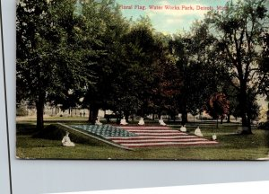 Michigan Detroit Water Works Park Floral Flag 1911