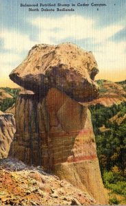 North Dakota Badlands Balanced Petrified Stump In Cedar Canyon