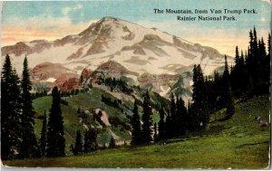 Mt Rainier from Van Trump Park, Rainier National Park WA Vintage Postcard T39