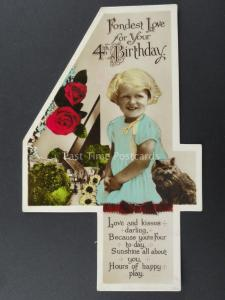 c1930's LITTLE GIRL WITH CAT AND KITTEN Cut Out Numeral 4th Birthday Postcard