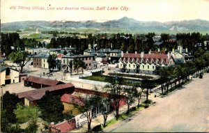 Utah Salt Lake City Tithing Offices Lion and Beehive Houses 1909