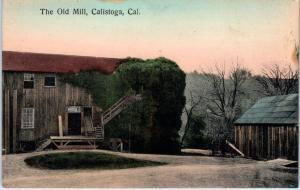 CALISTOGA, CA California   The  OLD  MILL   c1910s   Handcolored  Postcard