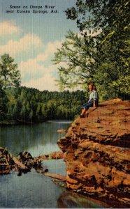 Arkansas Eureka Springs Scene On The Osage River Curteich