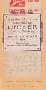 Gasthof Lintner Salzburg Restaurant 2x 1950s Receipt s