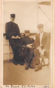 SS Colon~Officers on Deck~Lean Against Rail~Gent~Immigrant Ship~1909 Real Photo