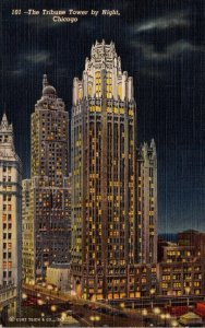 Illinois Chicago The Tribune Tower By Night 1942 Curteich