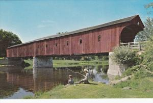 West Montrose Covered Bridge, Boys Fishing, KITCHENER, Ontario, Canada, 40-60's