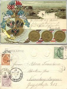 poland, MYSLOWITZ MYSŁOWICE, Three Emperors' Corner (1906) Embossed Postcard