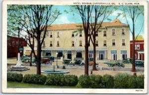Cartersville, Georgia Postcard HOTEL BRABAN Street View Fountain Park 1956 RPO