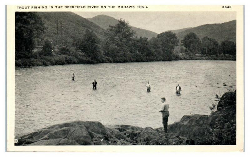 Trout Fishing in the Deerfield River on the Mohawk Trail Postcard