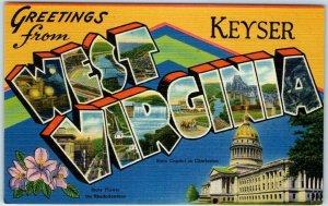 KEYSER, WEST VIRGINIA Large Letter Postcard State Capitol Flower Tichnor Linen
