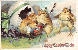 Happy Easter Tide dressed chicks dyed eggs monocle antique pc Y15269