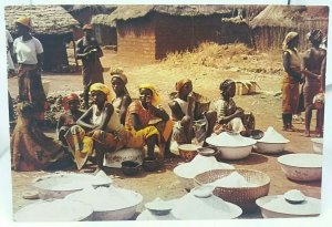 Vintage Postcard Young Girls Selling at a Market in Northern Nigeria Posted 1973
