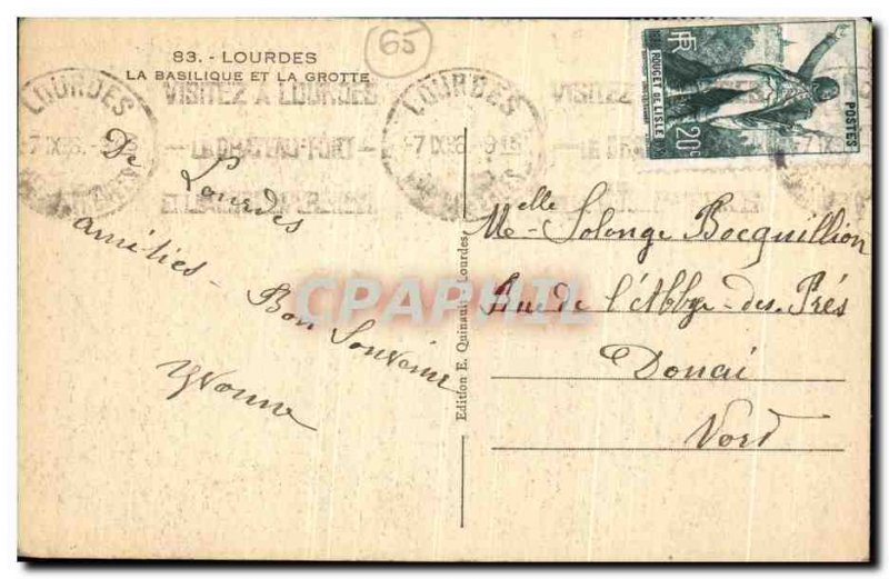 Old Postcard Lourdes Grotto and Basilica