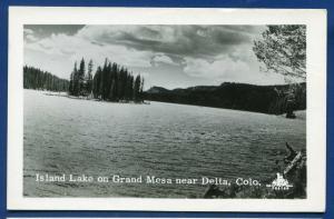 Delta Colorado Island lake Grand Mesa old real photo postcard RPPC