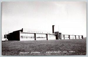 Lockport Illinois~Kelvin School~Many Windows~Chimney Above Door~RPPC c1913