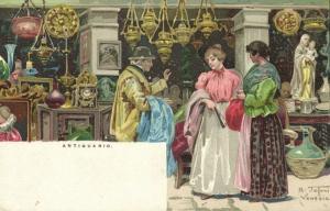 italy VENICE VENEZIA Antiquario Antique Store 1899 Artist Signed Raffaele Tafuri