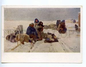 217193 RUS SVESHNIKOV in the settled life NORTH deers postcard